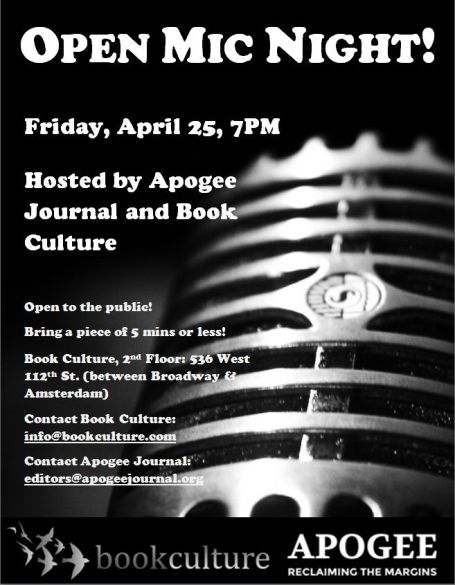 Apogee Open Mic Night Book Culture Flyer Version 2